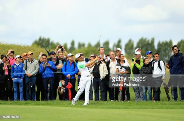 Tommy Fleetwood of England plays his second shot on the 13th during day four of the HNA Open de France at Le Golf National on July 2 2017 in Paris...