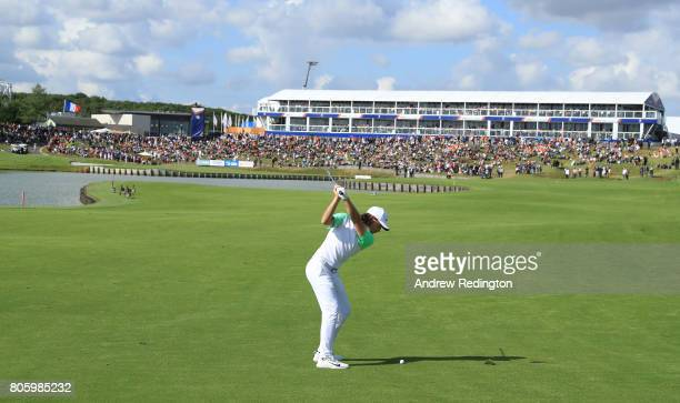 Tommy Fleetwood of England plays his second shot on the 18th hole during the final round of the HNA Open de France at Le Golf National on July 2 2017...