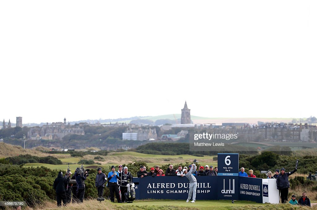 <a gi-track='captionPersonalityLinkClicked' href=/galleries/search?phrase=Tommy+Fleetwood&family=editorial&specificpeople=4450351 ng-click='$event.stopPropagation()'>Tommy Fleetwood</a> of England plays off the sixth tee during the final round of the 2014 Alfred Dunhill Links Championship at The Old Course on October 5, 2014 in St Andrews, Scotland.