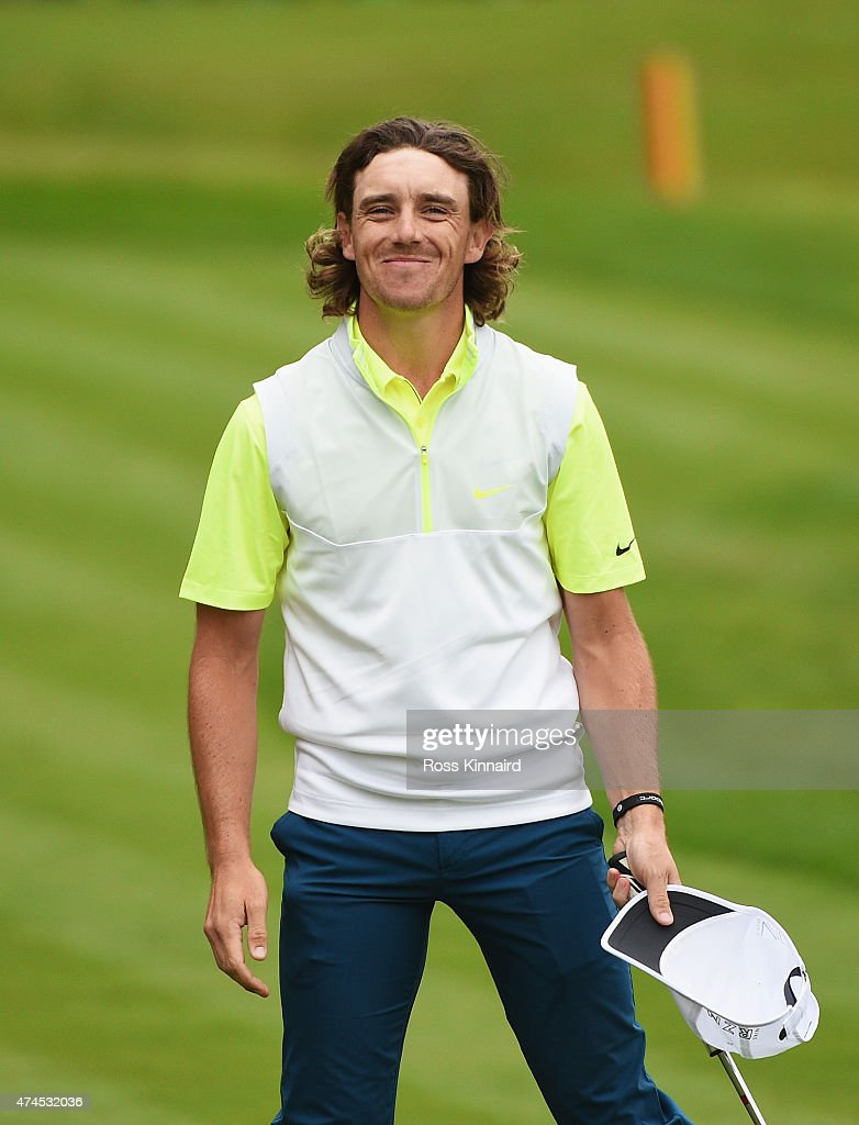 <a gi-track='captionPersonalityLinkClicked' href=/galleries/search?phrase=Tommy+Fleetwood&family=editorial&specificpeople=4450351 ng-click='$event.stopPropagation()'>Tommy Fleetwood</a> of England smiles on the 18th green during day 3 of the BMW PGA Championship at Wentworth on May 23, 2015 in Virginia Water, England.