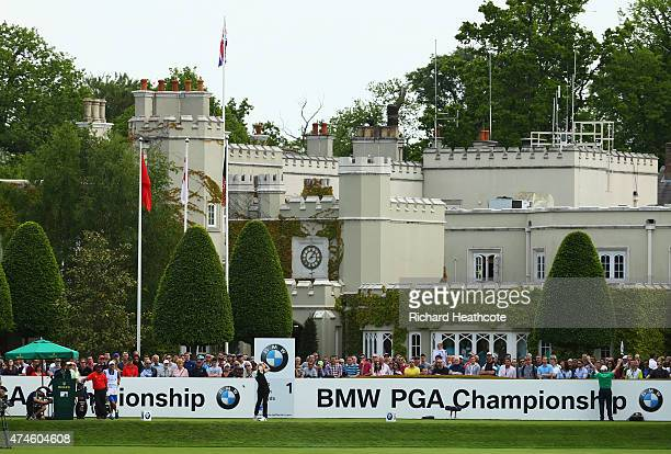 Tommy Fleetwood of England tees off on the 1st hole during day 4 of the BMW PGA Championship at Wentworth on May 24 2015 in Virginia Water England