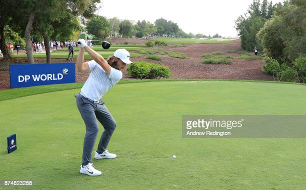 Tommy Fleetwood of England tees off on the 2nd hole during the first round of the DP World Tour Championship at Jumeirah Golf Estates on November 16...