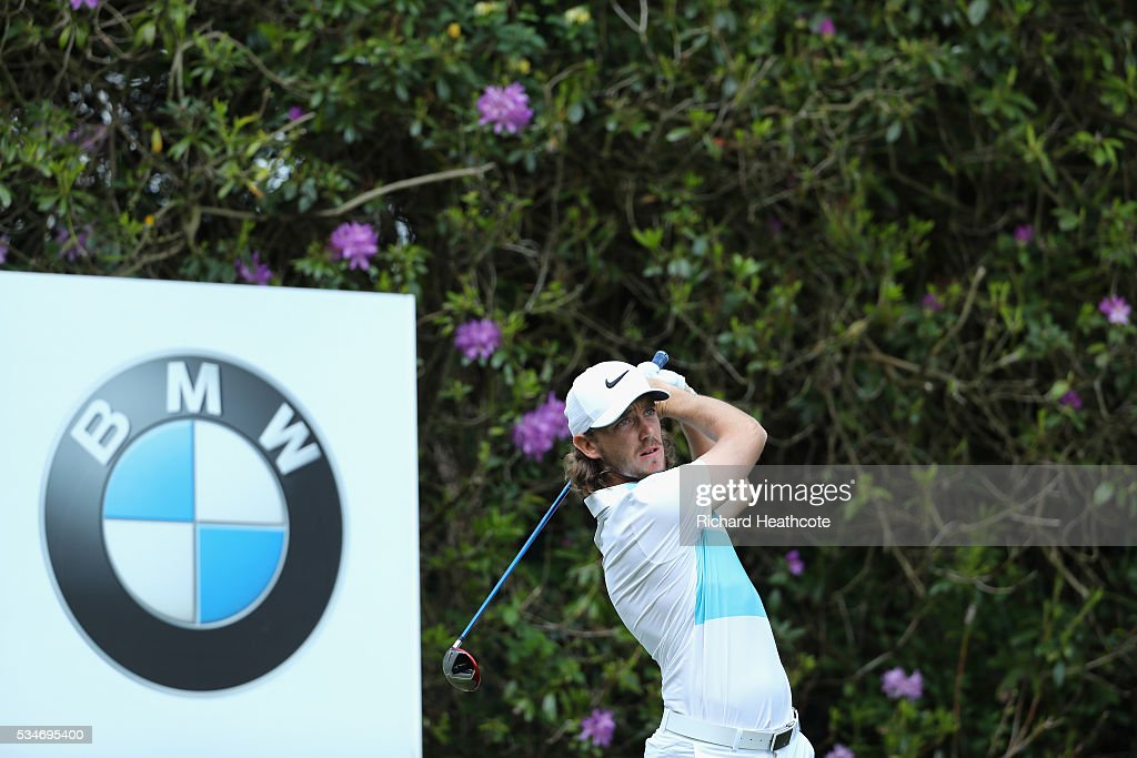 <a gi-track='captionPersonalityLinkClicked' href=/galleries/search?phrase=Tommy+Fleetwood&family=editorial&specificpeople=4450351 ng-click='$event.stopPropagation()'>Tommy Fleetwood</a> of England tees off on the 7th hole during day two of the BMW PGA Championship at Wentworth on May 27, 2016 in Virginia Water, England.