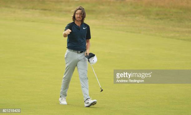 Tommy Fleetwood of England waves to the galleries on the 18th fairway during the final round of the 146th Open Championship at Royal Birkdale on July...