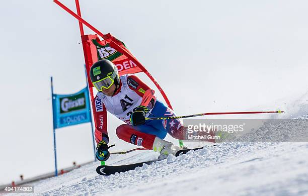 Tommy Ford of The USA during the Audi FIS Ski World Cup men's giant slalom race on the Rettenbach Glacier on 25 October 2015 in Soelden Austria