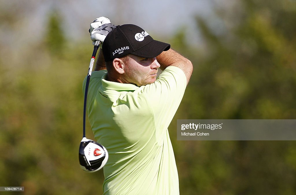 Tommy Gainey hits a drive during the second round of the Mayakoba Golf Classic at Riviera MayaCancun held at El Camaleon Golf Club on February 25...