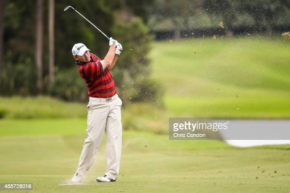 Tommy Gainey hits a shot from the ninth hole fairway during the second round of the Webcom Tour Championship at TPC Sawgrass Dye's Valley Course on...