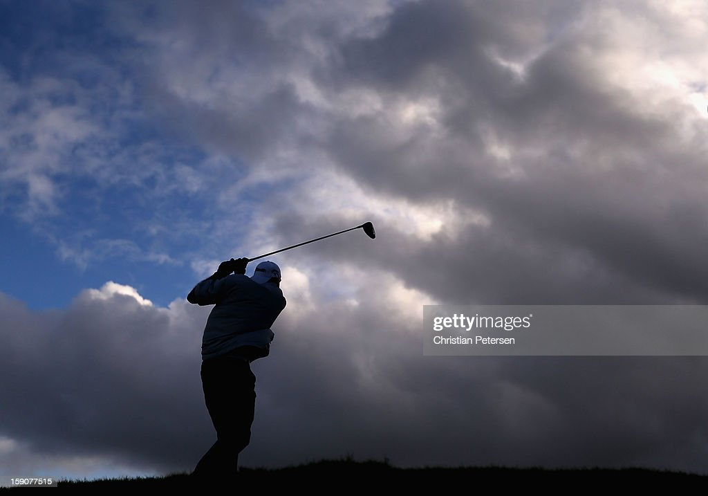Tommy Gainey hits a tee shot on the 10th hole during the replay of the first round of the Hyundai Tournament of Champions at the Plantation Course on January 7, 2013 in Kapalua, Hawaii.