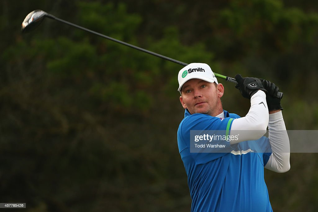 Tommy Gainey hits a tee shot on the second hole during the second round of The McGladrey Classic at Sea Island's Seaside Course on October 24 2014 in...