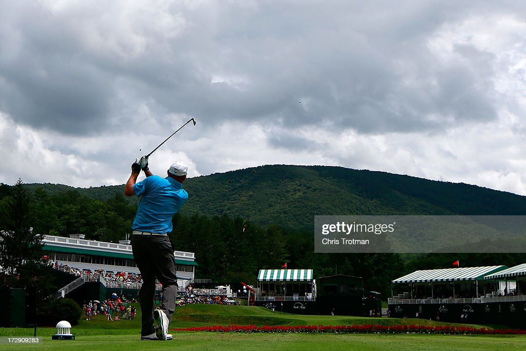 <a gi-track='captionPersonalityLinkClicked' href=/galleries/search?phrase=Tommy+Gainey&family=editorial&specificpeople=4274633 ng-click='$event.stopPropagation()'>Tommy Gainey</a> hits his tee shot on the 18th hole during round two of the Greenbrier Classic at the Old White TPC on July 5, 2013 in White Sulphur Springs, West Virginia.