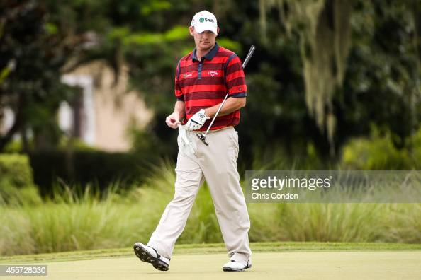 Tommy Gainey lines up a putt on the ninth hole green during the second round of the Webcom Tour Championship at TPC Sawgrass Dye's Valley Course on...