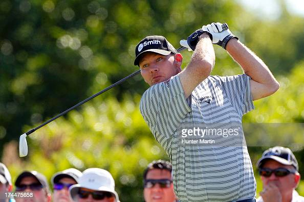 Tommy Gainey of the United States hits his tee shot on the 17th hole during round two of the RBC Canadian Open at Glen Abby Golf Club on July 26 2013...