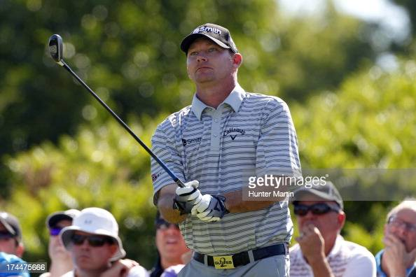 Tommy Gainey of the United States watches his tee shot on the 17th hole during round two of the RBC Canadian Open at Glen Abby Golf Club on July 26...