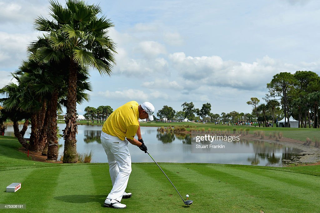 Tommy Gainey plays a shot on the 9th hole during the first round of The Honda Classic at PGA National Resort and Spa on February 27 2014 in Palm...