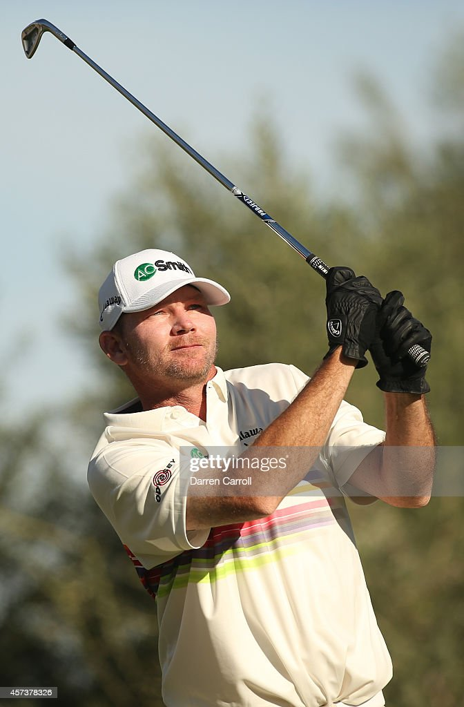 Tommy Gainey plays his tee shot on the 14th hole during the second round of the Shriners Hospitals For Children Open at TPC Summerlin on October 17...