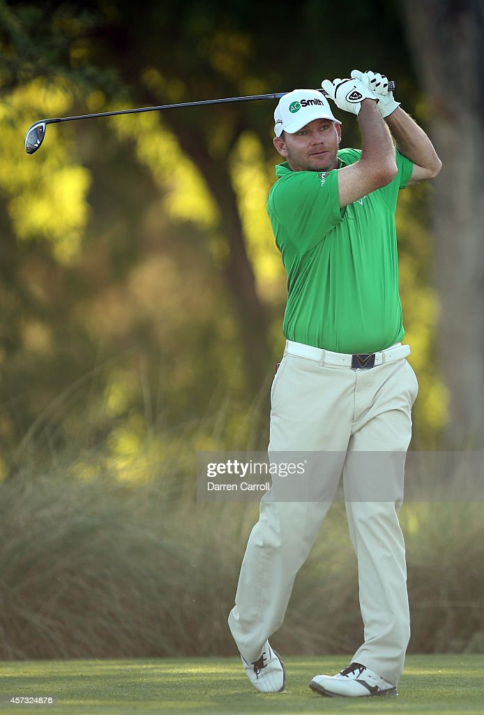 Tommy Gainey plays his tee shot on the first hole during the first round of the Shriners Hospitals For Children Open at TPC Summerlin on October 16...