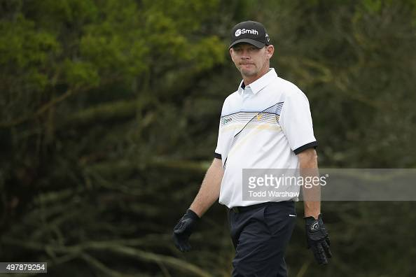 Tommy Gainey prepares to tee off on the 2nd hole on the Seaside Course during the first round of The RSM Classic on November 19 2015 in St Simons...