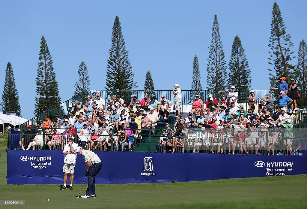 <a gi-track='captionPersonalityLinkClicked' href=/galleries/search?phrase=Tommy+Gainey&family=editorial&specificpeople=4274633 ng-click='$event.stopPropagation()'>Tommy Gainey</a> putts on the ninth hole green during the replay of the first round of the Hyundai Tournament of Champions at the Plantation Course on January 7, 2013 in Kapalua, Hawaii.