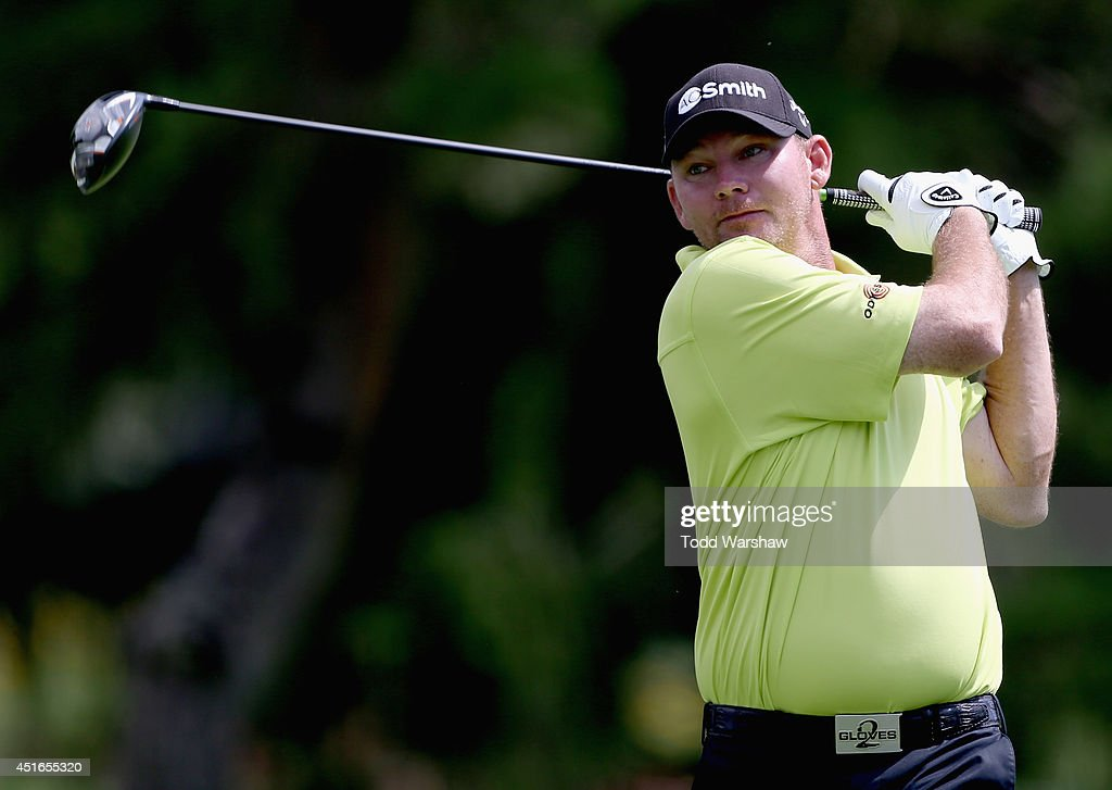 Tommy Gainey tees off on the 10th hole during the first round of the Greenbrier Classic at the Old White TPC on July 3 2014 in White Sulphur Springs...