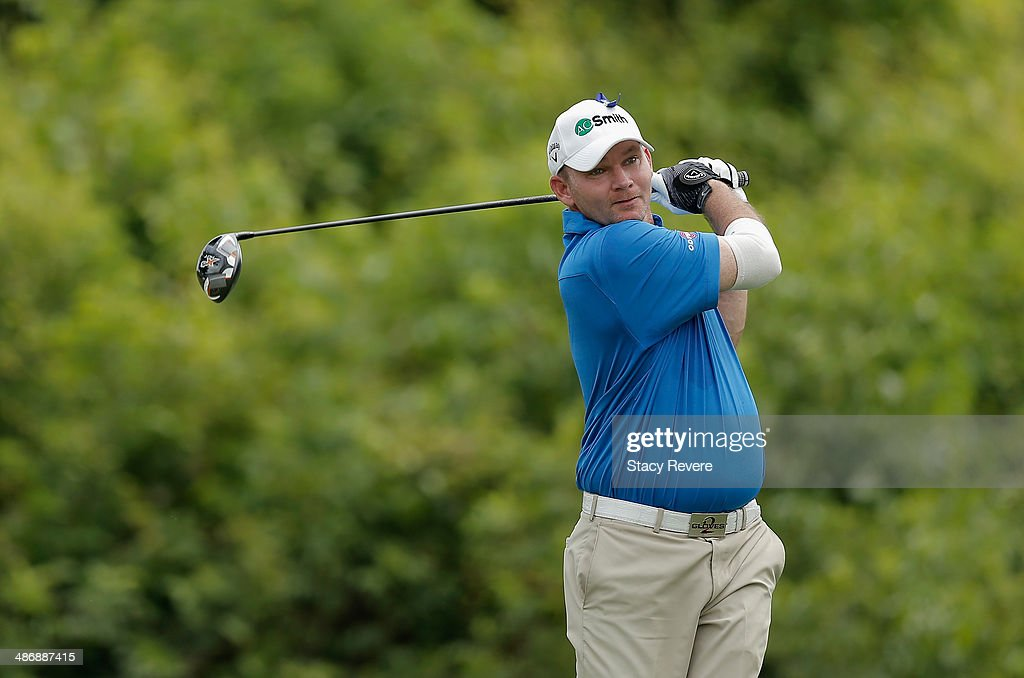 Tommy Gainey tees off on the 2nd druing Round Three of the Zurich Classic of New Orleans at TPC Louisiana on April 26 2014 in Avondale Louisiana