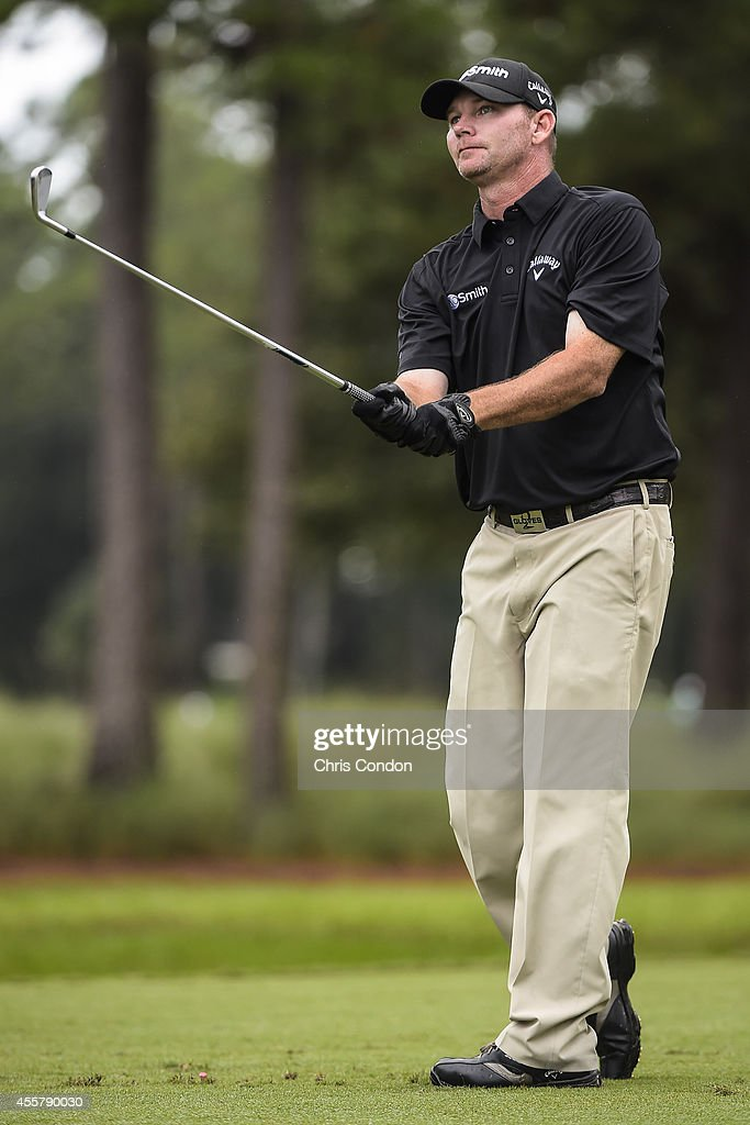 Tommy Gainey tees off on the second hole during the third round of the Webcom Tour Championship at TPC Sawgrass Dye's Valley Course on September 20...