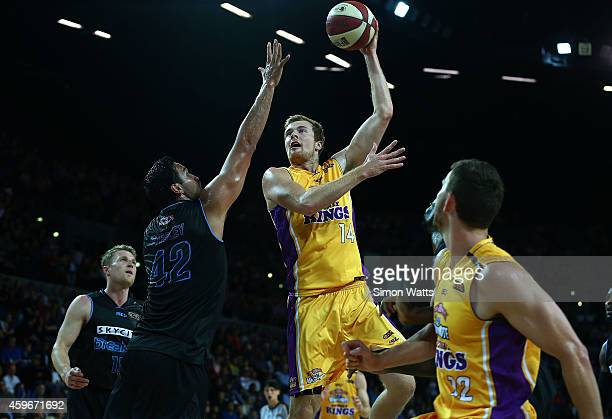 Tommy Garlepp of the Kings shoots over Tai Wesley of the Breakers during the round eight NBL match between New Zealand Breakers and Sydney Kings at...