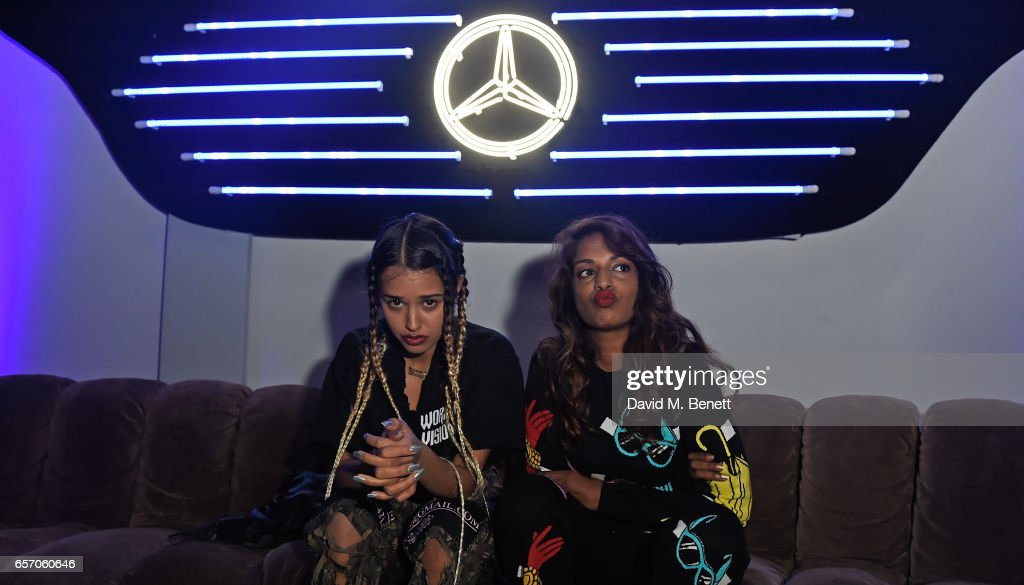 Tommy Genesis and M.I.A attend the Mercedes-Benz #mbcollective launch party with M.I.A & Tommy Genesis at 180 The Strand on March 23, 2017 in London, England.