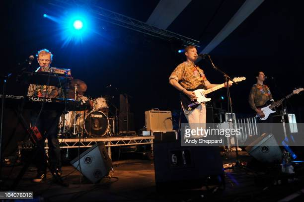 Tommy Grace Vincent Neff and Jimmy Dixon of Django Django perform on stage during day three of End Of The Road Festival 2010 at Larmer Tree Gardens...