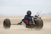 Tommy Grierson of England taking part in one of the races at the European Kite Buggy Championships at Hoylake Wirral north west England Around 75...