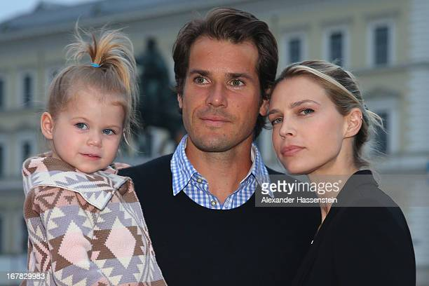 Tommy Haas arrives with his daughter Valentina and Sara Foster for the BMW Open Players Night at Lazy Moon Dinner Club on April 30 2013 in Munich...