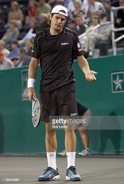 Tommy Haas defeated Nicoias Devilder 63 64 in second round action at the US Mens Clay Court Championships at Westside Tennis Club April 12 2007 in...