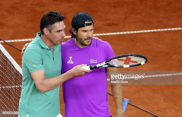 Tommy Haas of Germany and Michael Stich of Germany pose during the Manhagen Classics against Michael Stich of Germany at Rothenbaum on July 23 2017...