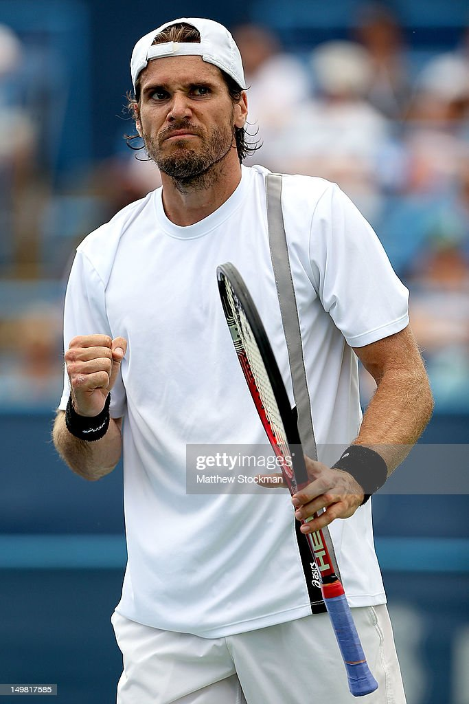 Tommy Haas of Germany celebrates match point against Mardy Fish during the semifinals of the Citi Open at William HG FitzGerald Tennis Center on...