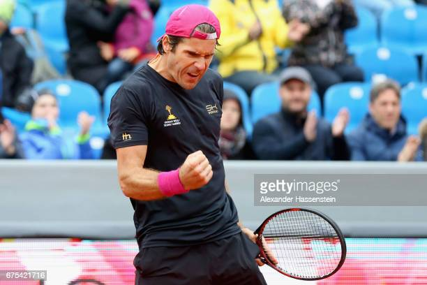 Tommy Haas of Germany celebrates victory after winning his first round match against Sergiy Stakhovsky of Ukraine during for the 102 BMW Open by FWU...
