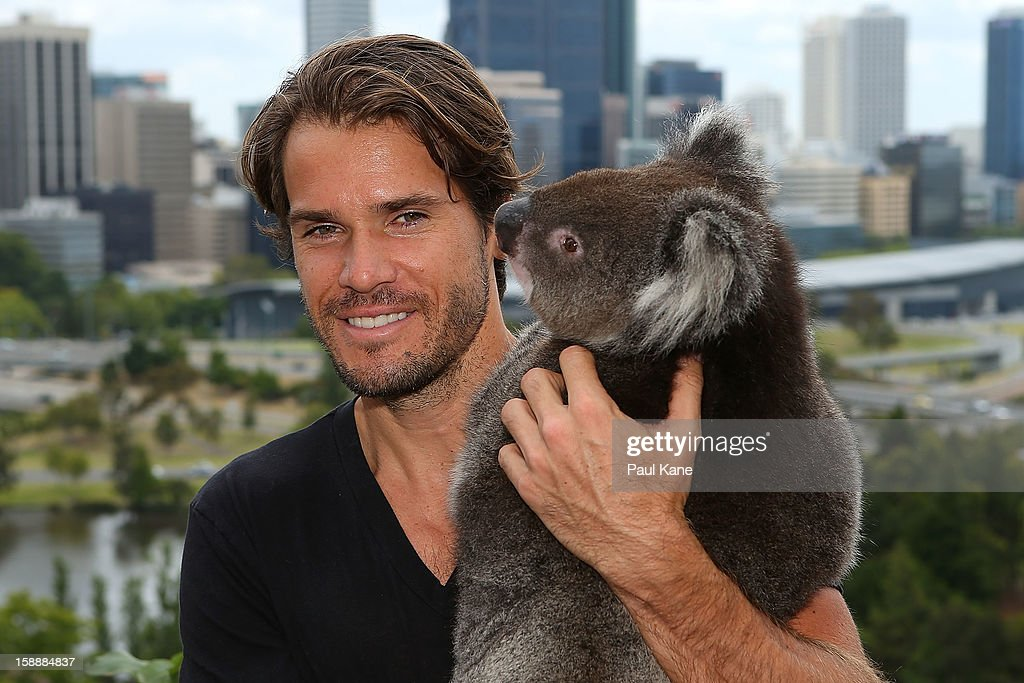 <a gi-track='captionPersonalityLinkClicked' href=/galleries/search?phrase=Tommy+Haas&family=editorial&specificpeople=171956 ng-click='$event.stopPropagation()'>Tommy Haas</a> of Germany holds a Koala on a visit to Kings Park during day six of the Hopman Cup at Perth Arena on January 3, 2013 in Perth, Australia.