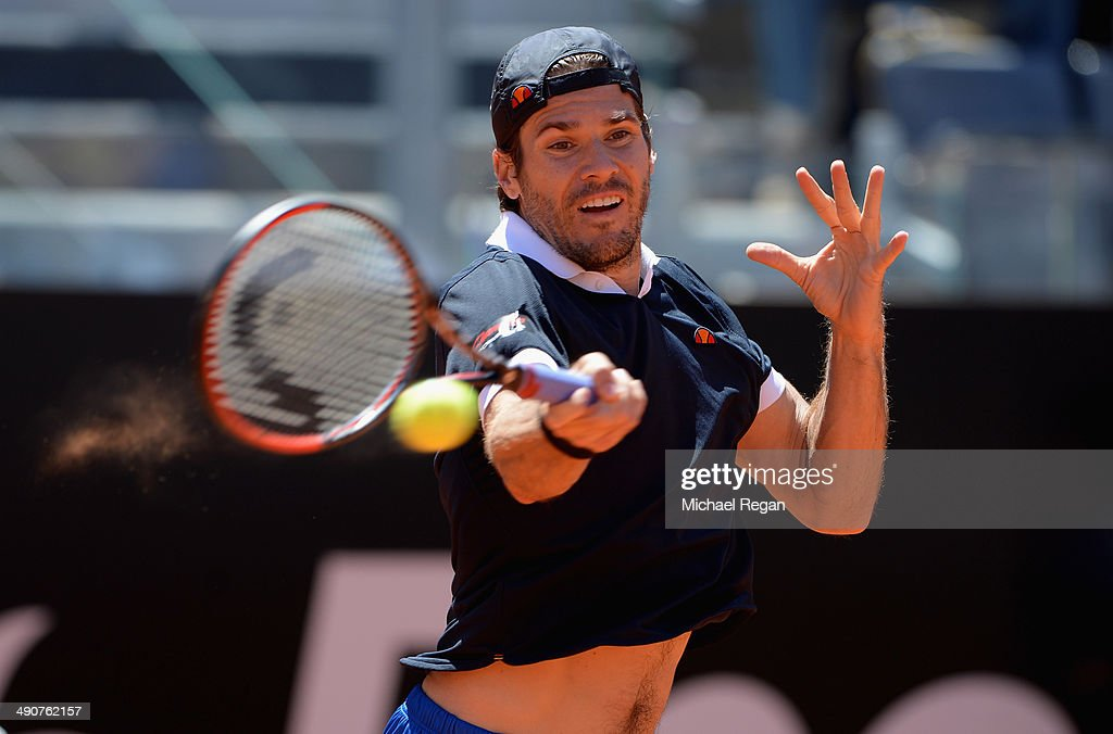 Tommy Haas of Germany in action against Stanislas Wawrinka of Switzerland during day 5 of the Internazionali BNL d'Italia 2014 on May 15 2014 in Rome...