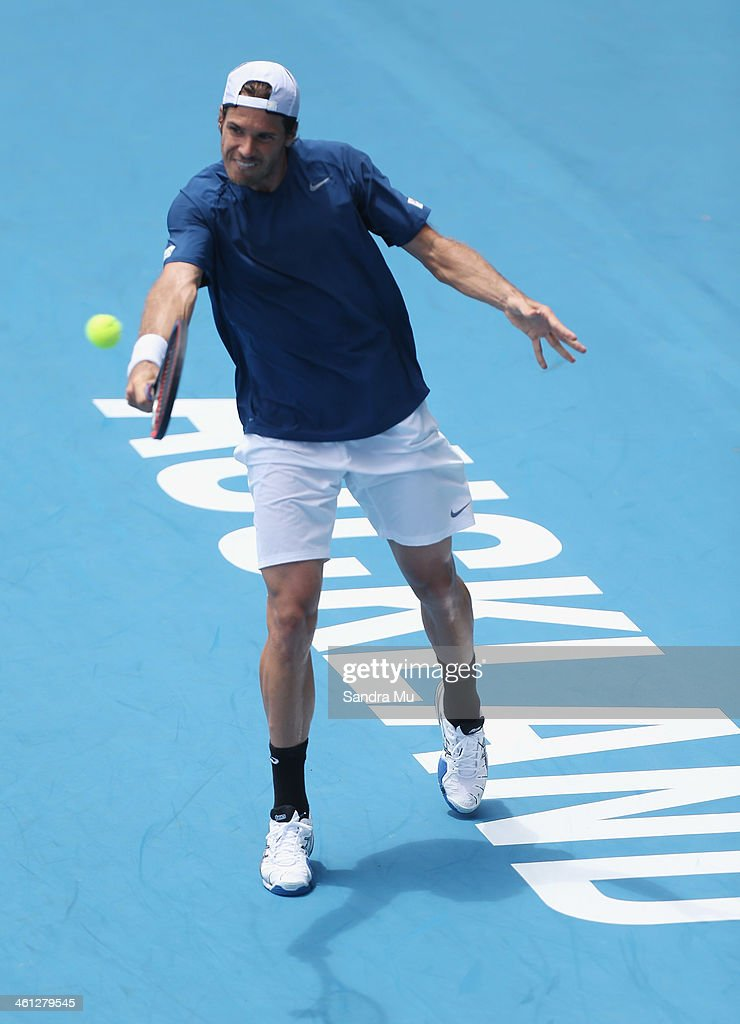 Tommy Haas of Germany plays a backhand during his match against Jack Sock of USA on day three of the Heineken Open at ASB Tennis Centre on January 8, 2014 in Auckland, New Zealand.