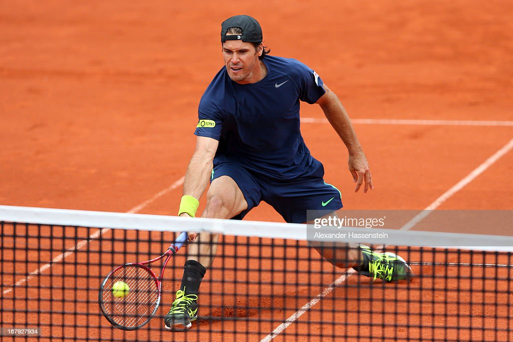 Tommy Haas of Germany plays a fore hand during his 2nd round match against Ernests Gulbis of Latvia of the BMW Open at Iphitos tennis club on May 2...