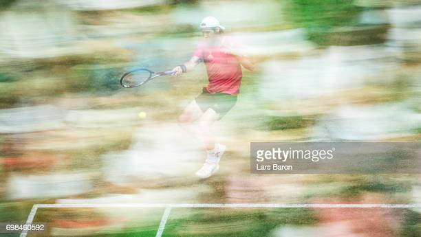 Tommy Haas of Germany plays a forehand during his match against Bernard Tomic of Australia during Day 4 of the Gerry Weber Open 2017 at on June 20...
