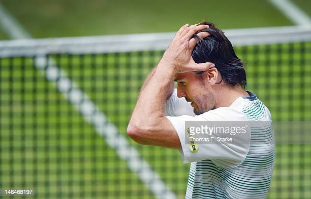 Tommy Haas of Germany reacts after his victory in the final match against Roger Federer of Switzerland during day seven of the Gerry Weber Open at...
