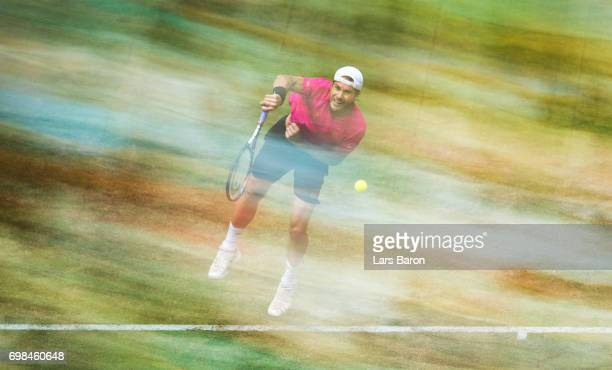 Tommy Haas of Germany serves during his match against Bernard Tomic of Australia during Day 4 of the Gerry Weber Open 2017 at on June 20 2017 in...