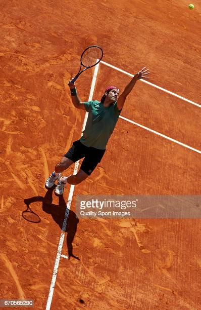 Tommy Haas of Germany serves during his match against Tomas Berdych of the Czech Republic during day four of the ATP Monte Carlo Rolex Masters Tennis...