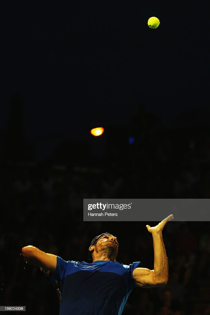 <a gi-track='captionPersonalityLinkClicked' href=/galleries/search?phrase=Tommy+Haas&family=editorial&specificpeople=171956 ng-click='$event.stopPropagation()'>Tommy Haas</a> of Germany serves during his quarterfinal match against Gael Monfils of France during day four of the Heineken Open at the ASB Tennis Centre on January 10, 2013 in Auckland, New Zealand.