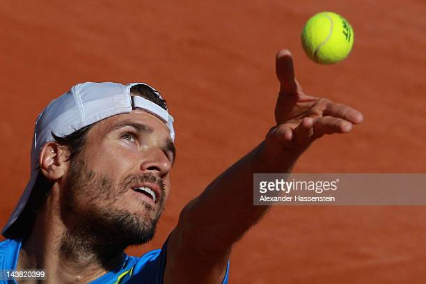 Tommy Haas of Germany serves the ball during his quarter final match against Marcos Baghadatis of Cyprus at BMW Open at Iphitos tennis club on May 4...