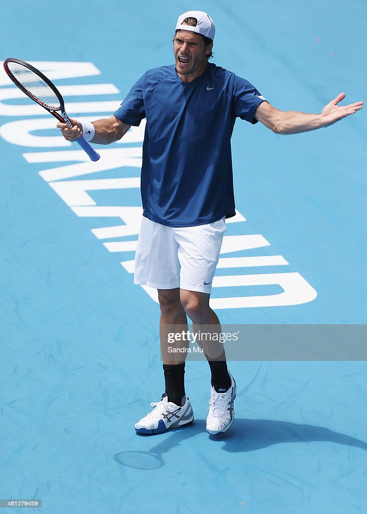 Tommy Haas of Germany show his disappointment during his match against Jack Sock of USA on day three of the Heineken Open at ASB Tennis Centre on January 8, 2014 in Auckland, New Zealand.