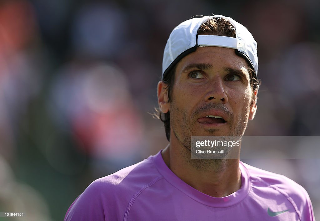 Tommy Haas of Germany shows his dejection against David Ferrer of Spain during their semi final match at the Sony Open at Crandon Park Tennis Center...