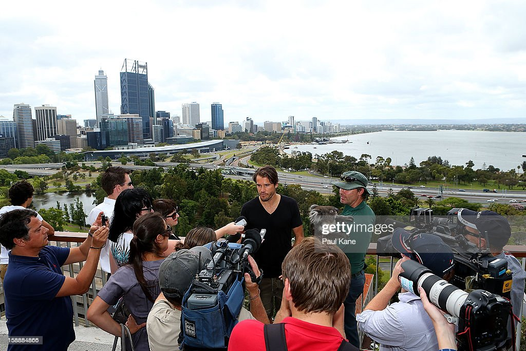 Tommy Haas of Germany talks with the media on a visit to Kings Park during day six of the Hopman Cup at Perth Arena on January 3, 2013 in Perth, Australia.