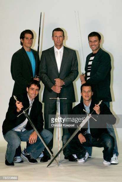 Tommy Haas team coach Patrick Kuehnen Alexander Waske Benjamin Becker and Philipp Kohlschreiber pose during a Baeumler fashion shooting with the...