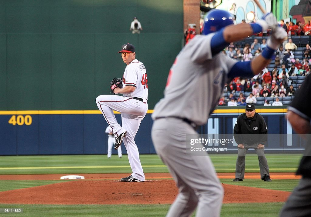 Tommy Hanson of the Atlanta Braves pitches against Aramis Ramirez of the Chicago Cubs at Turner Field on April 8 2010 in Atlanta Georgia The Cubs...