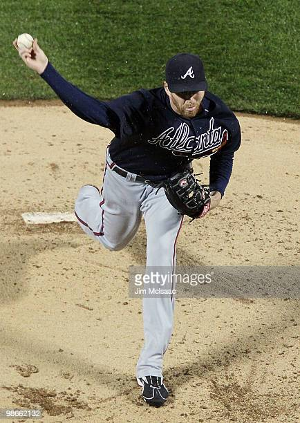 Tommy Hanson of the Atlanta Braves pitches against the New York Mets on April 25 2010 at Citi Field in the Flushing neighborhood of the Queens...